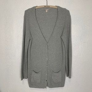 J. Jill waffle knit cotton gray boyfriend cardigan